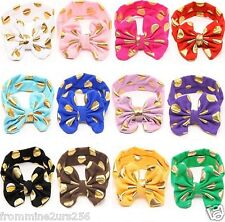 Lot of 12  Baby Toddler Girls Big Bow Gold Dot Cotton Headband Turban Headwrap