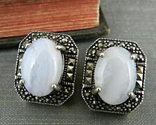 Vintage Styled Designer Milky Quartz & Marcasite Sterling Silver Earrings