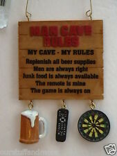 YEARROUND Midwest Ornament/MAN CAVE RULES SIGN Beer Mug Remote Control Dart Brd