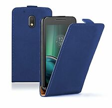 SLIM BLUE Leather Flip Case Cover Pouch For Mobile Phone Motorola Moto G4 Play