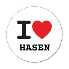 I love HASEN - Aufkleber Sticker Decal - 6cm