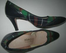 Vintage BOB BAKER WOOL GREEN Tartan Plaid Wingtip Heels Blue Leather Ladies 7.5