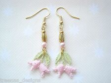 *PINK GREEN LACE BELL FLOWER PEARL BEAD* Long Drop Gold Plated Earrings Gift Bag