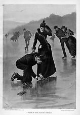 ICE SKATING GENTLEMAN TIGHTENS LACES ON LADIES ICE SKATES ANTIQUE ENGRAVING