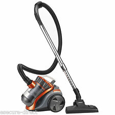VonHaus 1200W 2L Orange/Grey Bagless Compact Cylinder Hoover Vac Vacuum Cleaner