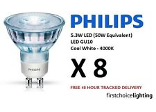 8 x Philips 5.3W (50W) Low Energy GU10 LED Spot Lamps Bulbs Cool White 4000K