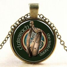 Vintage Harp Cabochon Bronze Glass Chain Pendant Necklace  with chain
