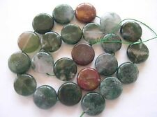 Moss agate coin beads 16mm