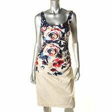 Suzi Chin For Maggy Boutique, Floral Print, Stretch Cotton Sheath Dress Size: 12