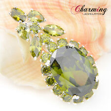 Lady Jewelry Gift Multi Natural Olive Peridot Gemstone Silver Necklace Pendants