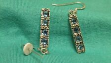 Charles Winston Sterling Silver Sparkly Blue CZ Rectangular Dangle Drop Earrings