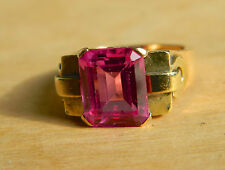 BEAUTIFUL ESTATE 18K YELLOW GOLD RING W/DEEP PINK TOURMALINE GEMSTONE