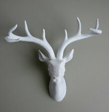 Funky & Fashionable White Stag / Deer Head - wall mounted approx W:300mm H:360mm