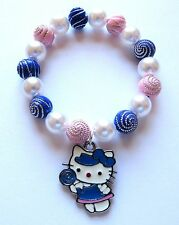 Hello Kitty Style Lollipop Charm Stretch Bracelet 5.5 in With Organza Gift Bag