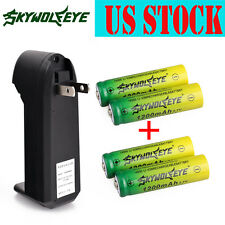 4x 14500 3.7V Power 1200mAh Li-ion Rechargeable Battery +1x Smart Charger USA
