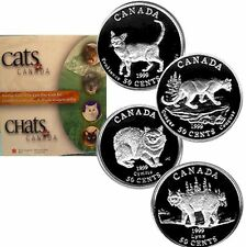 1999 Cats of Canada Sterling Silver 4 Coin Set