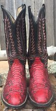 Cowtown USA Made Mens 9 1/2 SNAKESKIN & LEATHER Western Cowboy Boots Red/Black