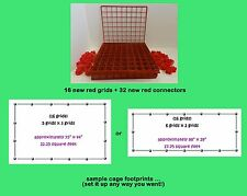 16 RED grids + 32 connectors for guinea pig C&C (cube & coroplast) cage + care!