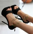 Sexy Women's Super High Heels Stiletto Platform Ankle Strap Fashion Shoes Size 8