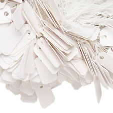 Lot of 100 Small 1 x 1/2 inch White Paper Jewelry Price Label Tags with String