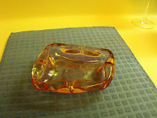 VINTAGE Hand BLOWN GLASS ICED PINK ASHTRAY