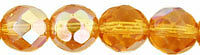 10 Golden Topaz AB Glass Faceted Round Beads 8MM