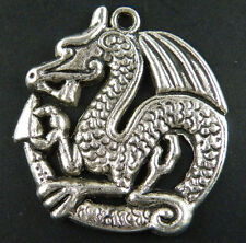 5pcs Tibetan Silver Dragon Charms Pendants 32.5x31mm 9118