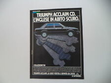 advertising Pubblicità 1984 TRIUMPH ACCLAIM CD