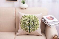 """Pillowslip 18"""" Cotton Linen Green tree Home sofa Throw Pillow Case Cushion Cover"""