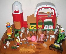Fisher Price Little People FARM BARN & SILO,Sound, Large Lot of Animals, Figures