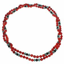 6mm Red Coral and turquoise Necklace Length: 115cm