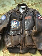 AVIREX M FLIGHT BOMBER FLYING TIGERS JACKET BLOOD CHIT LEATHER PILOT top gun
