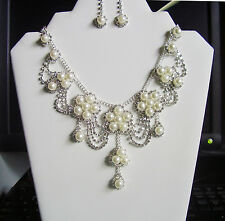 Bridal Pearl and Rhinestone Necklace and Earring Set  -  Wedding & Prom Set