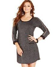 Jessica Simpson CELIE Metallic Black Lurex Beaded Sleeve Dress, XS - MSRP $59
