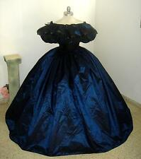 Custom-Deep BLUE/WHITE/BLACK-taffeta-civil war DRESS-BALLGOWN-BALLET-Reenactment