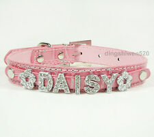 Personalized Leather Puppy Collars Cat Dog Rhinestone Letters Name Bling Charms