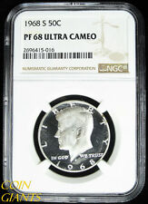 1968-S PROOF Kennedy Half Dollar NGC PF68 ULTRA CAMEO GEM High Grade Coin