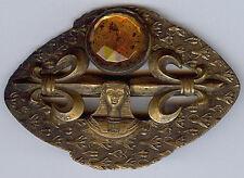 VICTORIAN ERA GOLDEN TOPAZ FACETED GLASS EGYPTIAN PHAROAH FLEUR DE LIS SASH PIN