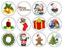 24 x Christmas theme Edible image cupcake toppers Pre-Cut