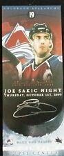 Joe Sakic Retirement Night Commemorative Ticket