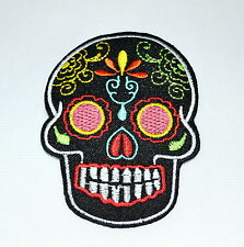 Badge,Sugar Skull,Black,Patch,Aufnäher,Aufbügler,Dia De Los Muertos,Mexico,Bunt