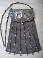 Antique Art Nouveau Frame 800 Silver Chain Mail Beaded Ball Mesh Tassel Purse LF