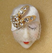 LADY HEAD FACE Porcelain-Look Resin Brooch Pin Flapper RS veil glitzy Handmade