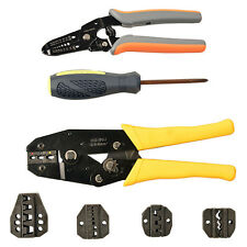 Crimper Crimp Pliers Set 0.5-6 mm² Crimping Tool Kit Cable Ratchet 5 Spare Dies