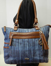 La Diva Blue & Brown Tassel Shoulder Bag Handbag Purse Tote