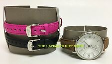 NEW FOSSIL 3 PC SET SILVER TONE ,BLACK+BROWN+PINK LEATHER BAND WATCH-BQ2177SET