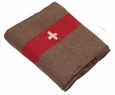 Army wool blanket with red stripe & white cross Swiss military woolen camping