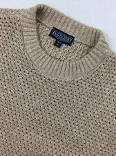 VTG Lands End Oatmeal  Knit Crewneck Sweater M USA Made
