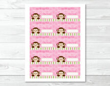 Lil Monkey Girl Jungle Safari Printable Baby Shower Diaper Raffle Tickets