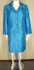 Le Suit Woman NWT Plus Size 22W Shiny Blue Jacket Blazer Skirt Suit $240 7022